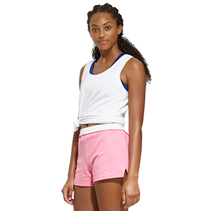 woman wearing authentic soffe shorts in pink