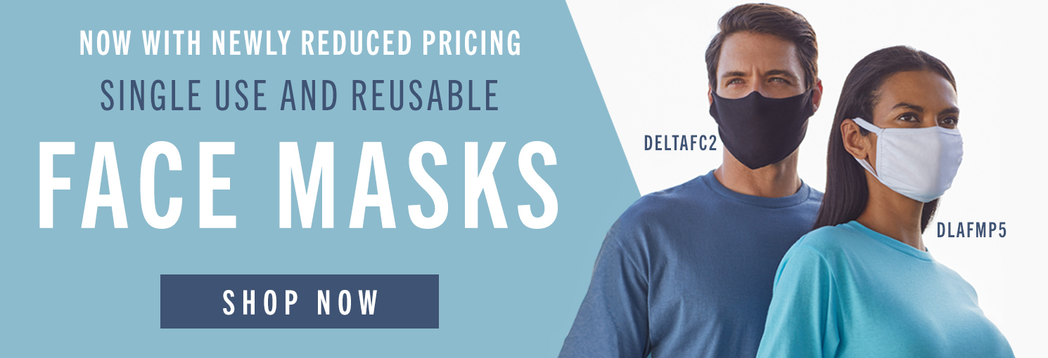 delta apparel face covers 100% cotton choose from one time use or washable multiple use face masks