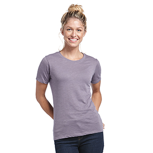 Ladies slub cotton short sleeve crew neck blank tee for screen printing