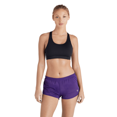 woman facing front in a black sports bra and purple running shorts 020V