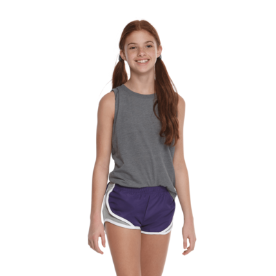 girl facing front in a grey tank top and purple and grey running shorts
