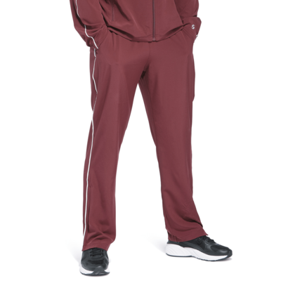 legs of man angled front wearing maroon warmup pants with black running shoes