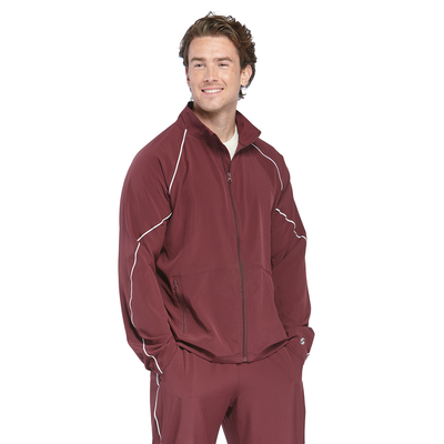 man facing front wearing a maroon warm up jacket with white piping and a zipper