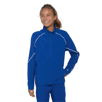 young girl facing front in a blue warmup jacket with white piping and zipper