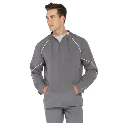 man facing front wearing a grey three quarter warm up jacket