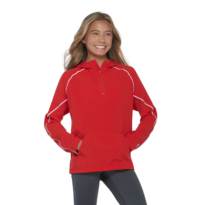young girl facing front wearing a red quarter zipper warmup jacket