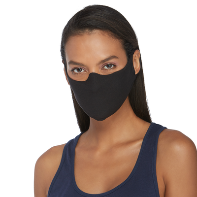 girl facing front wearing a black face mask