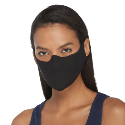 woman facing front wearing a black face mask