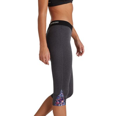 woman facing sideways wearing charcoal grey capri leggings