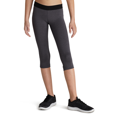 girl facing front wearing charcoal grey capri leggings and black running shoes