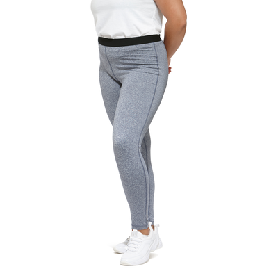 woman angled to the front wearing a white shirt with grey heather leggings and white running shoes