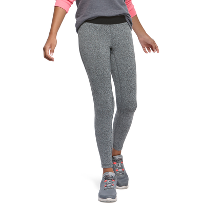 girl facing front wearing grey heather leggings and grey running shoes