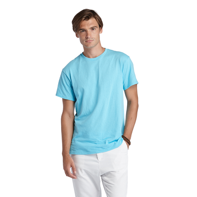 man wearing light blue tee shirt