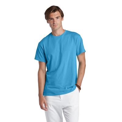 man wearing light blue tee shirt