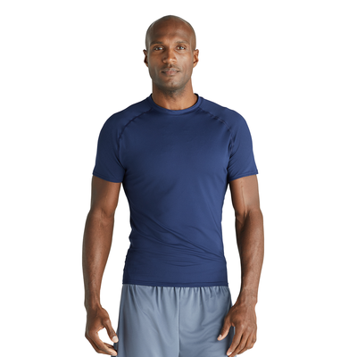 man facing front wearing a navy fitted short sleeve tshirt
