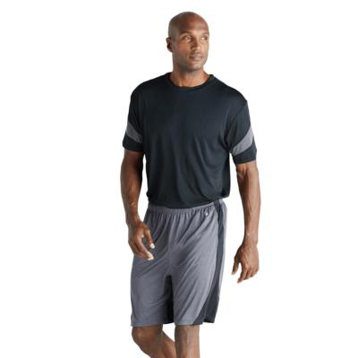 man facing front wearing a black short sleeve shirt and grey shorts