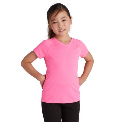 girl facing front wearing a pink v neck short sleeve t shirt
