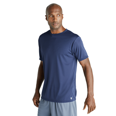man angled to the front in a navy blue short sleeve tshirt