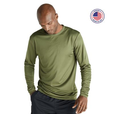 man facing forward looking down wearing a green long sleeve tshirt