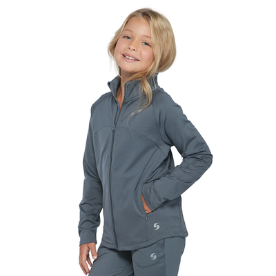 girl angled front wearing a matching grey full zipper jacket and pants