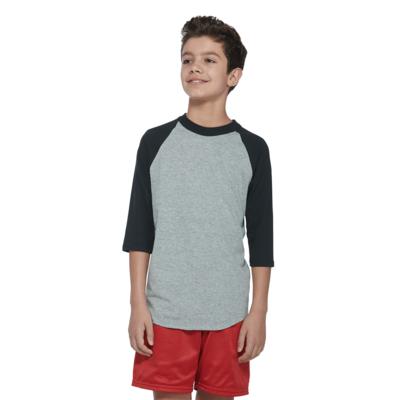 boy facing front wearing a grey and black baseball t shirt and red shorts