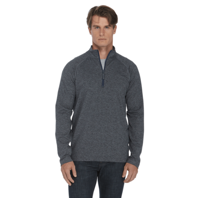 man facing front wearing a charcoal grey quarter zip pullover with jeans