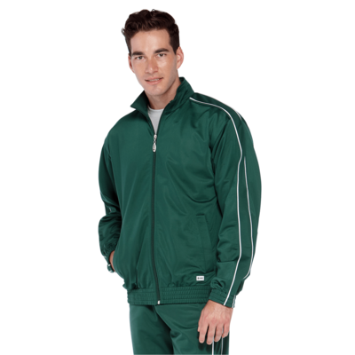 man wearing a dark green zip up warm up jacket with white piping