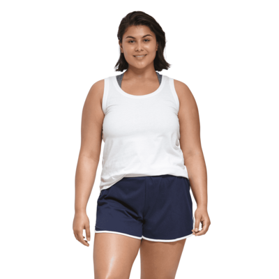 young woman facing front wearing a white tank top and blue shorts with white piping