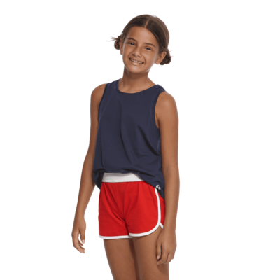 girl facing front wearing a navy tank top and red shorts with white piping