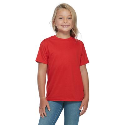 girl facing front wearing a red short sleeve platinum shirt