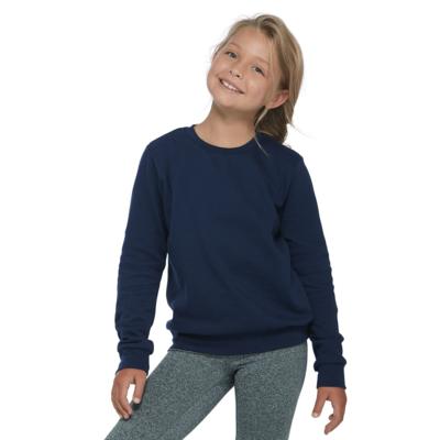 girl facing front wearing a navy blue pullover fleece sweatshirt