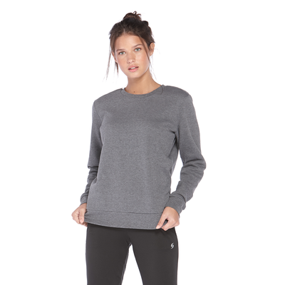 girl facing front wearing a grey pullover fleece sweatshirt