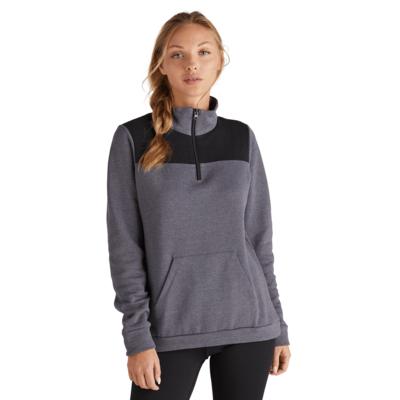 woman facing front wearing a grey and black color blocked quarter zip sweatshirt