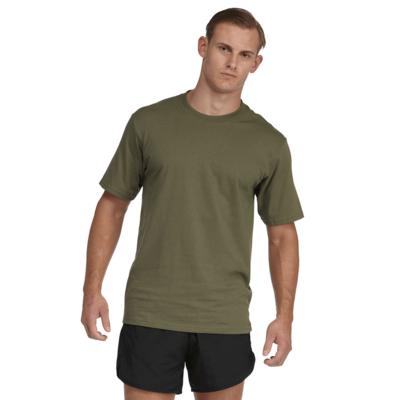man facing front wearing a green crew neck short sleeve shirt