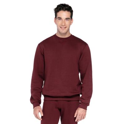 man facing front wearing a maroon crew neck fleece sweatshirt