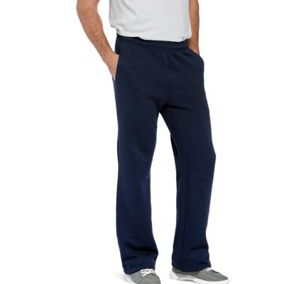 man wearing navy blue open bottom sweatpants with hands in side pockets