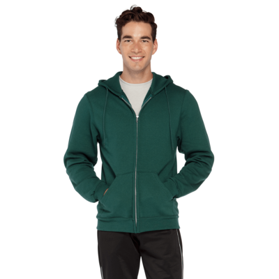 man facing front wearing a green zip up hoodie with hands in front pockets
