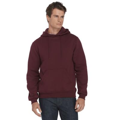 man looking to the side wearing a maroon fleece hoodie