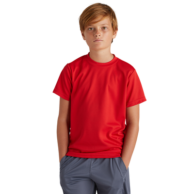 boy wearing red crew neck short sleeve shirt with hands in pants pockets