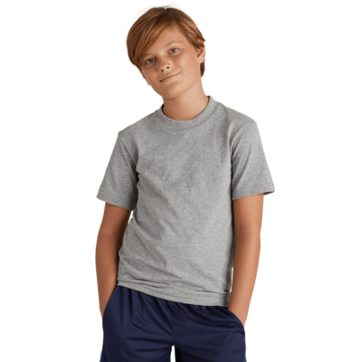 boy wearing a grey short sleeve shirt with both hands in shorts pockets