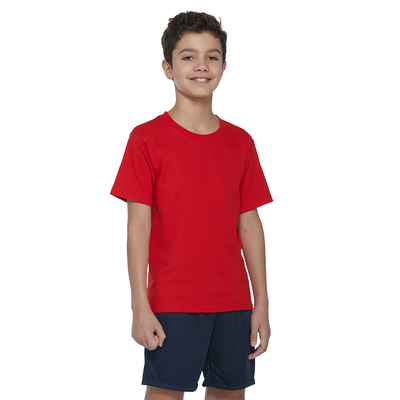 boy wearing a red short sleeve shirt and navy blue shorts