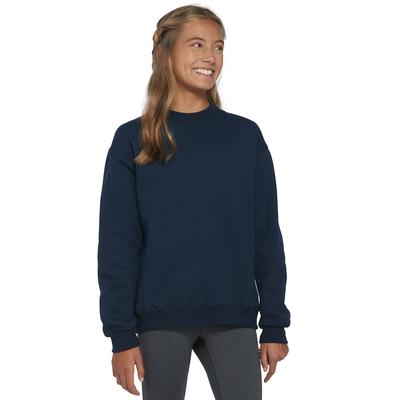 girl looking to the side wearing a navy blue fleece sweatshirt