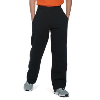 boy wearing black open bottom fleece sweatpants with hands in side pockets