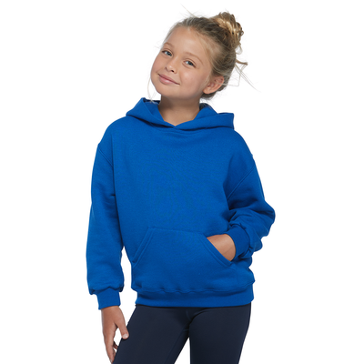 girl wearing a blue fleece hoodie with her head to the side and one hand in the front pocket