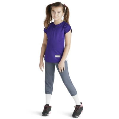 girl wearing purple baseball jersey and grey pickle chevron soffe intensity baseball pants