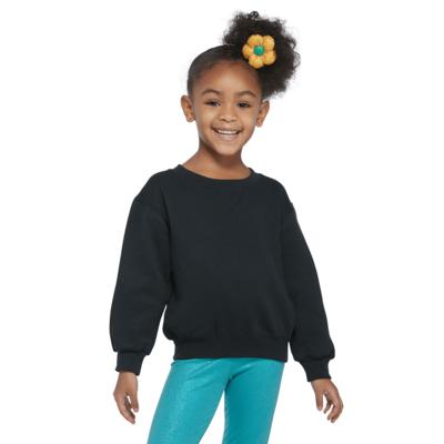 girl wearing a black crew neck sweatshirt