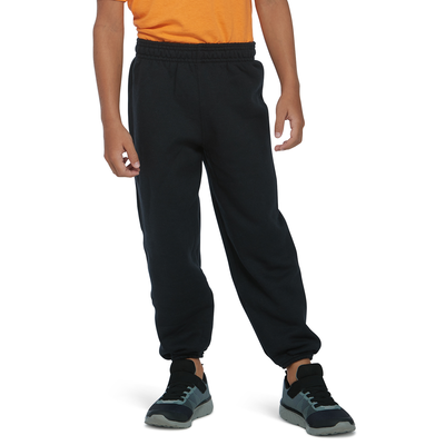 boy wearing black fleece sweatpants with elastic at the bottom