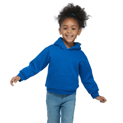young girl wearing a royal blue fleece hoodie with her arms out to the side