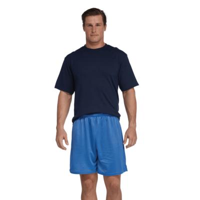 man facing front wearing a black short sleeve shirt and blue mesh shorts