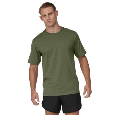 man facing front wearing an army green tee shirt and black running shorts